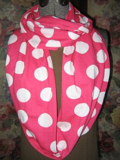 Hot Pink Polka Dot Infinity Scarf by BlackLilyCat blacklilycat long infinity scarves