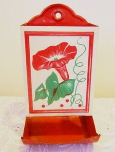 1940s Match Box Holder - Red Morning Glories & Dots