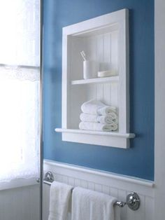 Use the space between the studs for shelving