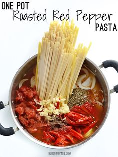 One Pot Roasted Red Pepper Pasta - Budget Bytes