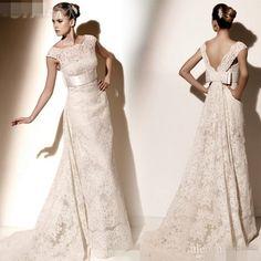 Luxury White Ivory Lace Wedding Dress, Bridal Ball Gown, V-Neck .../JENNY