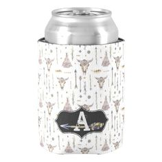 Boho Chic Arrows, Skulls, Tee Pee Tents Monogram Can Cooler. Customize.  #cancoolers