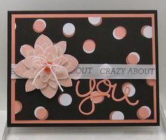 """Stampin' Up! ... handmade Valentine/love card ... black and cantaloup with spots of white ... layered flower with button & bow center ... band of ribbon with sentiment ... die cut """"you"""" in loopy script ... like it!"""