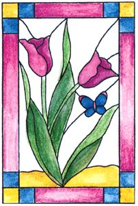 Tulip Stained Glass Cling Stamp