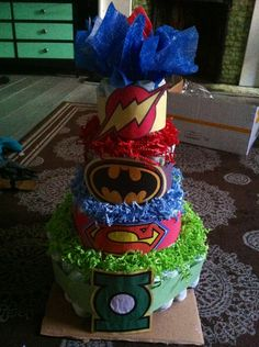 Diaper Cake for super hero baby shower!!! So excited!!! This is a diaper cake I personally made for my baby shower!!