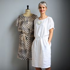 The Utility Dress, Tunic and Top: Simple and relaxed summer dressing with this pull-on, drop-waist style. Instructions are given for the dress, tunic or top, with or without drawstring and optional front split detail.