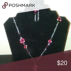 Pink Necklace & Earrings Silver & Pink Necklace with matching Earrings Accessories