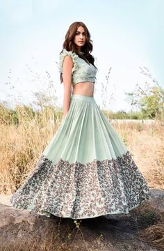 Foliage Embellished Lehenga ~ Brook. Stunning lehenga with floret lata design hand embroidery thread work.