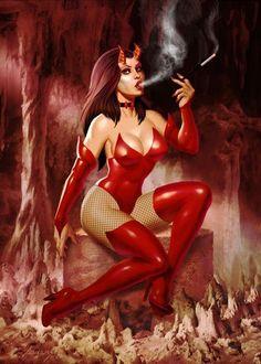 """redskullsmadhouse: """" Red Devil by PaulAbrams """" Gothic Fantasy Art, Fantasy Art Women, 1950 Pinup, Female Demons, Tumbrl Girls, Demon Art, Angel And Devil, Angels And Demons, Dark Angels"""
