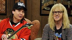 SNL's Mike Meyers and Dana Carvey as Wayne & Garth.  No huuuuuwaay.  Way. Wayne's World, party time, excellent...
