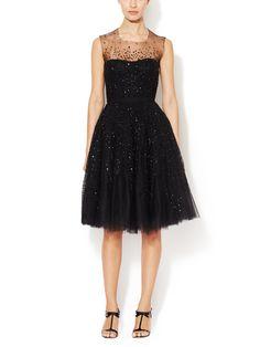 Tulle Embellished A-Line Dress from Designer Eveningwear Feat. Reem Acra on Gilt