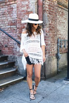 Blogger Crystalin Marie in our Boxy Blouse w/ Fringe