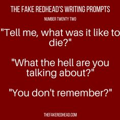 Sign Up For The Newsletter A complete library of the original writing prompts written by The Fake Redhead Click To Claim Your 10 FREE Writing Prompts Click To Claim Your 10 FREE Writing Prompts Ins…