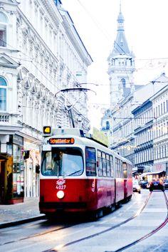 Vienna Tram in Waehring, Austria