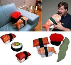 I've only seen sushi costumes not sushi pillows. This is new!