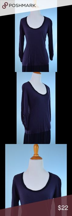 LEFT OF CENTER indigo button back tunic top XS LEFT OF CENTER indigo purple blue button back raw edge detail 3/4 button up sleeve tunic top XS, cotton, care label removed, length 29 inches, bust 34 inches, Anthropologie Anthropologie Tops