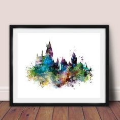 Watercolor Castle Art Canvas Painting Wall Picture , Harry Canvas Prints Watercolor Castle Poster Kids Room Decor Canvas Art Prints, Canvas Wall Art, Framed Prints, Harry Potter Castle, Watercolor Canvas, Watercolor Tattoo, Kids Room Wall Art, Hogwarts, Cross Paintings