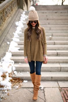 winter fashion: olive green poncho sweater + suede boots