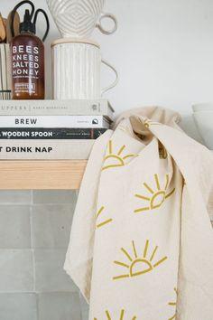 Cotton Towels, Tea Towels, Beach Shack, Beach House Decor, Home Accessories, Screen Printing, Sunrise, Creative