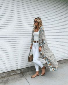 white on white + summer kimono - Source by LilliansAffaire outfit Trendy Summer Outfits, Boho Outfits, Spring Outfits, Casual Outfits, Fashion Outfits, Woman Outfits, Outfit Summer, Night Outfits, Fashion Clothes
