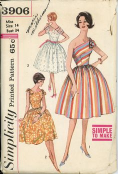 Simplicity 3906 Misses 1960s Dress Pattern One or Two Tie Shoulder Full Skirt Rockabilly Party Dress Womens Vintage Sewing Pattern Bust 34. $48.00, via Etsy.
