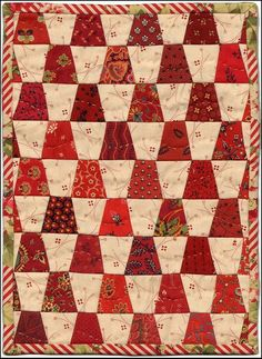Humble Quilts - Red Cloud dote for Ellena (More exaggerated than Pebbles quilt) Lap Quilts, Scrappy Quilts, Small Quilts, Mini Quilts, Crib Quilts, Tumbling Blocks Quilt, Block Quilt, Tumbler Quilt, Two Color Quilts