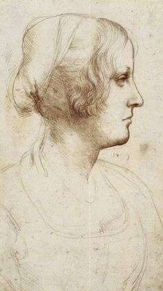 Leonardo, study of woman in profile