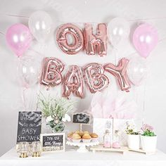 90  Awesome Pink Baby Shower Balloon Decoration Manly Party Decorations, Baby Shower Balloon Decorations, Baby Balloon, Balloon Banner, Letter Balloons, Baby Shower Balloons, Shower Party, Baby Shower Parties, Gold Confetti Balloons