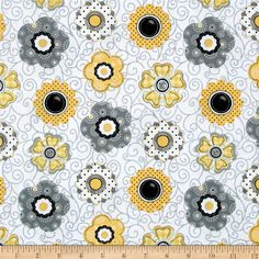 Designed by Shelly Comiskey for Henry Glass & Co Fabrics, this cotton print collection features primitive bee, floral, and honeycomb motifs. Perfect for quilting, apparel, and home decor accents. Colors include white, grey, black, and yellow.