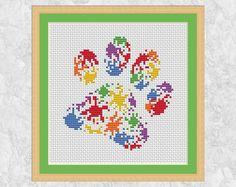 Paint splats paw print cross stitch pattern printable dog or