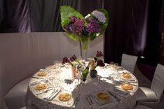 82nd Academy Awards Governors Ball (inspired purple and orange table setting)