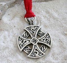 Pewter Solar Cross Celtic Knots Irish Druid Pagan Christmas Ornament and Holiday Decoration (56H). $5.95, via Etsy.