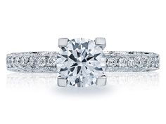 Check out this absolutely amazing Tacori Platinum .32ct Diamond Ring Solid Bottom Engagement Ring!!