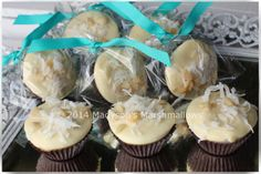 Coconut Macadamia Marshmallow Favors by Madyson's Marshmallows Sweet Wedding Favors, Marshmallows, Muffin, Coconut, Breakfast, Desserts, Food, Muffins, Postres