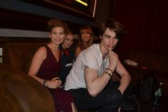 Nicholas Galitzine, trying to look all innocent as he is hanging out with Jane Seymour and some of the girls in the make up trailer on the set of High Strung Movie.