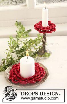 """Supporto per candele di Natale DROPS, all'uncinetto, in """"Cotton Viscose"""" e """"Glitter"""""""
