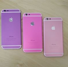 iPhone 6s in light pink ,hot pink and purple