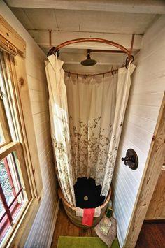 Tiny Tack House - wine barrel shower