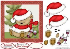 Cheers This Christmas on Craftsuprint designed by Carol James - A cute and simple 7 x 7 Christmas topper with decoupage pieces and 2 sentiment tags (plus a blank tag)Sentiments include:Christmas GreetingsCheers To You This Christmas - Now available for download!
