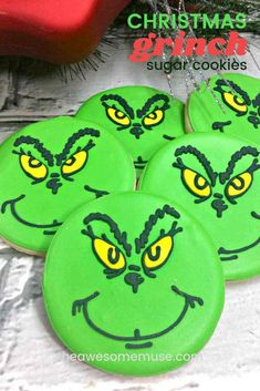 It doesn't really feel like Christmas until we watch How the Grinch Stole Christmas. And it's so much fun to do a Grinch themed Christmas party too! You can make all kinds of delicious treats like these cute Grinch Sugar Cookies. They are surprisingly easy to make using a simple sugar cookie. And there are step-by-step instructions for how to pipe his face in the icing too! #Christmas #Cookies