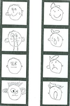 This is a an art lesson plan for little kids where students draw their emotions and mount them in a strip of little like a photo strip of silly faces. Use to tell a First, then, and, so story about why emotions changed. Kindergarten Art Lessons, Art Lessons Elementary, Art 2nd Grade, Classe D'art, Drawing Lessons, Drawing Art, Drawing Faces, Drawings, Student Drawing