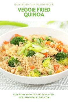 This delicious alternative to fried rice using a base! The best part about this dish is you can really use whatever veggies you have on hand! Enjoy as a side dish or as the main event for lunch or dinner! Fried Quinoa, Fried Rice, Vegetarian Recipes Dinner, Lunch Recipes, Frozen Vegetables, Veggies, Healthy Food, Healthy Recipes, Recipe Details