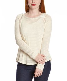 Natural Cutout Hi-Low Knit Sweater