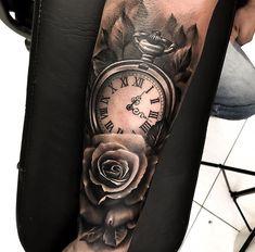 Tattoo rose arm ideas pocket watches 16 Ideas – Watch for everyone Forarm Tattoos, Forearm Sleeve Tattoos, Dope Tattoos, Baby Tattoos, Trendy Tattoos, Wrist Tattoo, Clock Tattoo Sleeve, Clock And Rose Tattoo, Tattoo Sleeve Designs
