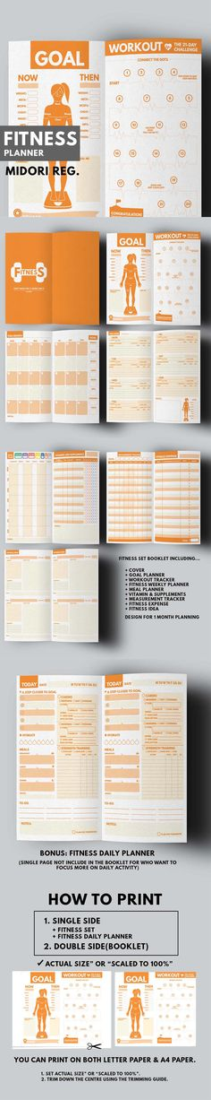 Item Details        (3)   Shop Policies Fitness Planner Printable ▹ for who want to stay healthy and be active everyday! Printable PDF Files  This is COMPLETE planner for helping you reaching the Fitness Plan. It contain everything you need while being Fit Girl
