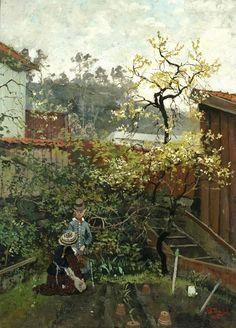 In the Garden, 1882 - Fritz Thaulow (Norwegian, Carl Spitzweg, Antoine Bourdelle, Sense Of Sight, Scandinavian Art, Art For Art Sake, Source Of Inspiration, Summer Garden, Landscape Art, Landscape Design