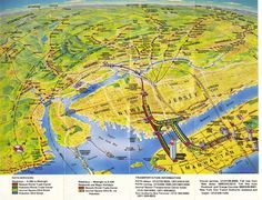 Historical Map: PATH Map, New York and New Jersey, 1979  After all the diagrammatic maps we've featured so far, it's nice to showcase something completely different - check out this awesome painted birds-eye view of PATH services between New Jersey and Manhattan from 1979. It also shows other rail services in New Jersey snaking off into the far distance, and even Lady Liberty standing guard over New York and the cutest little Staten Island ferry you ever did see.  Have we been there? Y