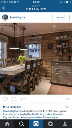 Hyttedrøm Log Cabin Living, Home And Living, Cabin Homes, Log Homes, Knotty Pine Decor, Small Cabin Kitchens, Kitchen Interior, Kitchen Design, Norwegian House