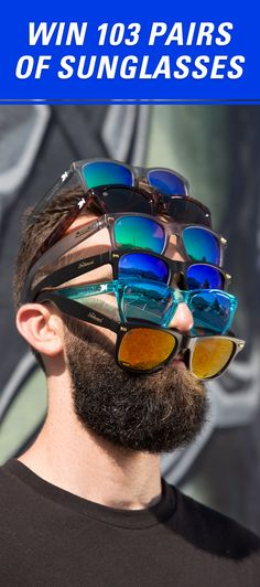 We've decided to kick off the summer season by giving away 103 different pairs of unisex Knockaround sunglasses to one lucky winner. That's $1,900 worth of shades! So, click the pin and enter the Ultimate Knockaround Sweepstakes for a chance to win sunglasses for life! #knockaround