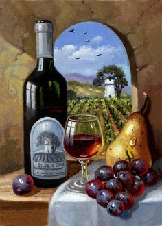 Silver Oak – Alexander Valley - New Site Pictures To Paint, Art Pictures, Tuscany Decor, Wine Painting, Wine Art, In Vino Veritas, Fruit Art, Mural Art, Painting Inspiration
